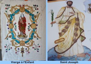 broderie de la vierge et l'enfant, et broderie de saint Joseph